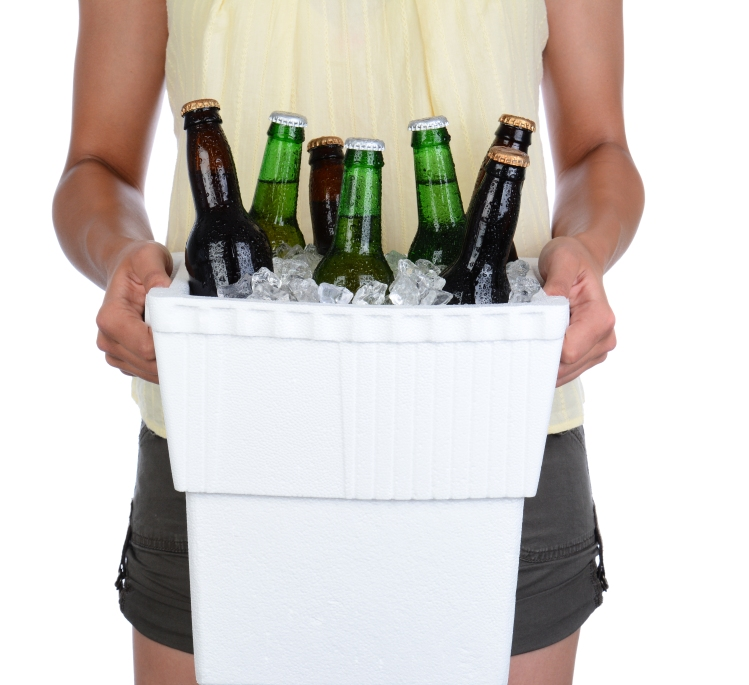 Woman Carrying Beer Cooler