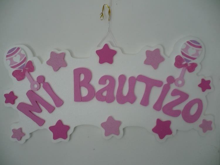 letrero de mi bautizo rosa